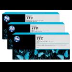 HP B6Y37A (771C) Ink cartridge bright black, 775ml, Pack qty 3