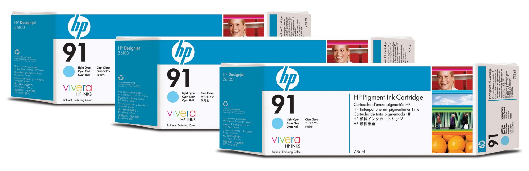 HP C9486A (91) Ink cartridge bright cyan, 775ml, Pack qty 3