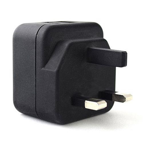 Pama 3-pin Plug UK USB Charger, 2 AMP, 2 x USB Ports, Ports on top of Plug for Easy Access