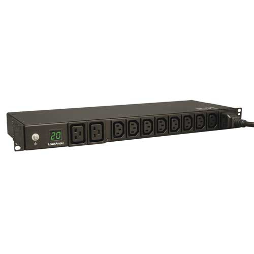 Tripp Lite 3.2-3.8kW Single-Phase Metered PDU, 200-240V (8 C13 & 2 C19), C20 / L6-20P Adapter, 12ft Cord, 1U Rack-Mount