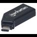 Manhattan USB-C Mini Multi-Card Reader/Writer, 480 Mbps, 24-in-1, Windows or Mac, Black, Blister