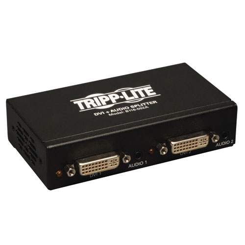 Tripp Lite 2-Port DVI Splitter with Audio and Signal Booster, Single-Link 1920x1200 at 60Hz/1080p (DVI F/2xF)