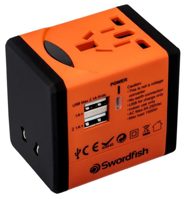 Swordfish 40253 power adapter/inverter Indoor Black, Orange