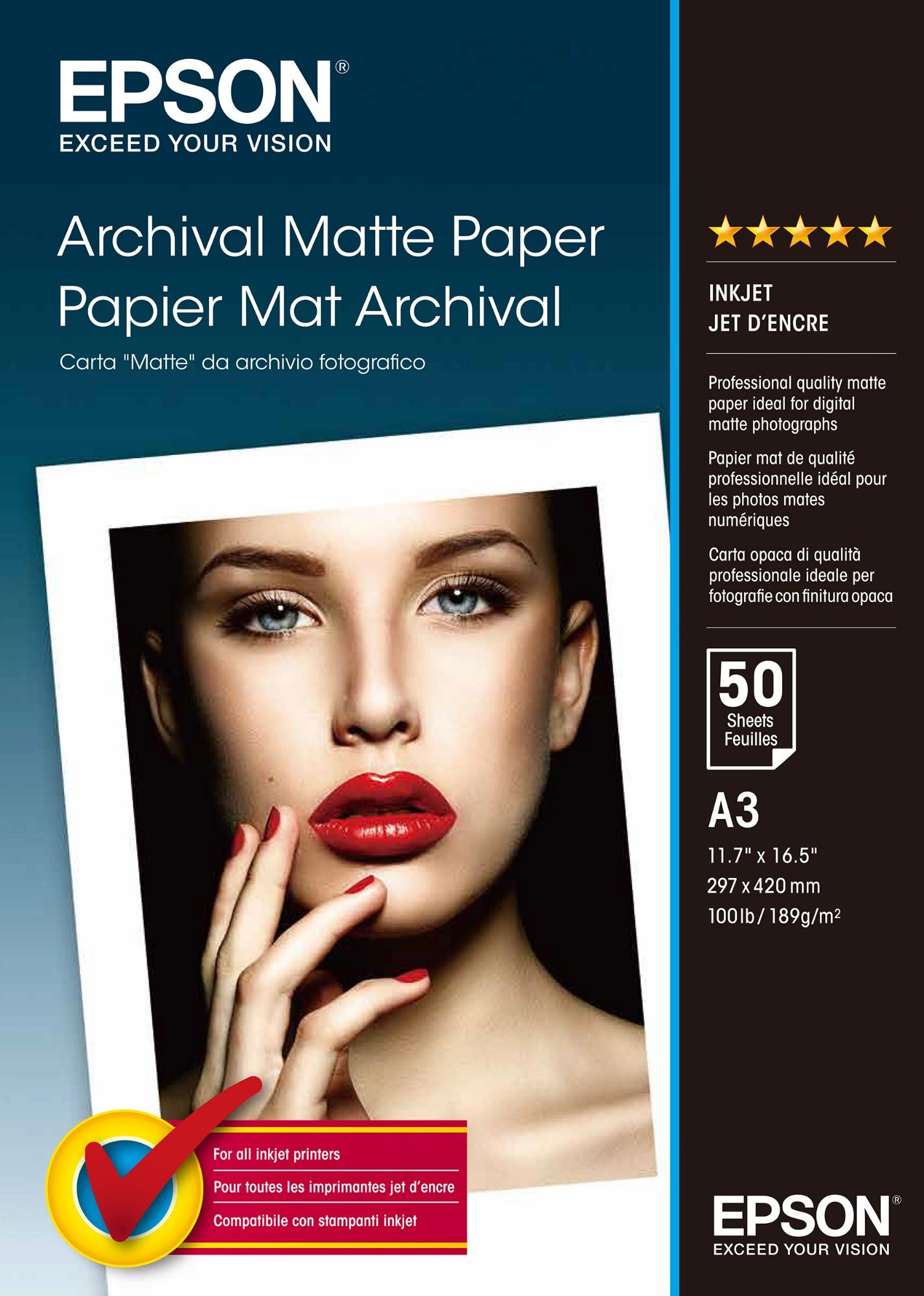 Epson Archival Matte Paper, DIN A3, 189g/m², 50 Sheets
