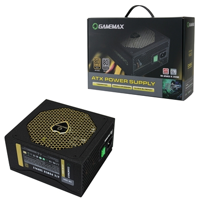 GAMEMAX GM500G 500W 140mm Silent Black Fan 80 PLUS Gold Semi Modular PSU