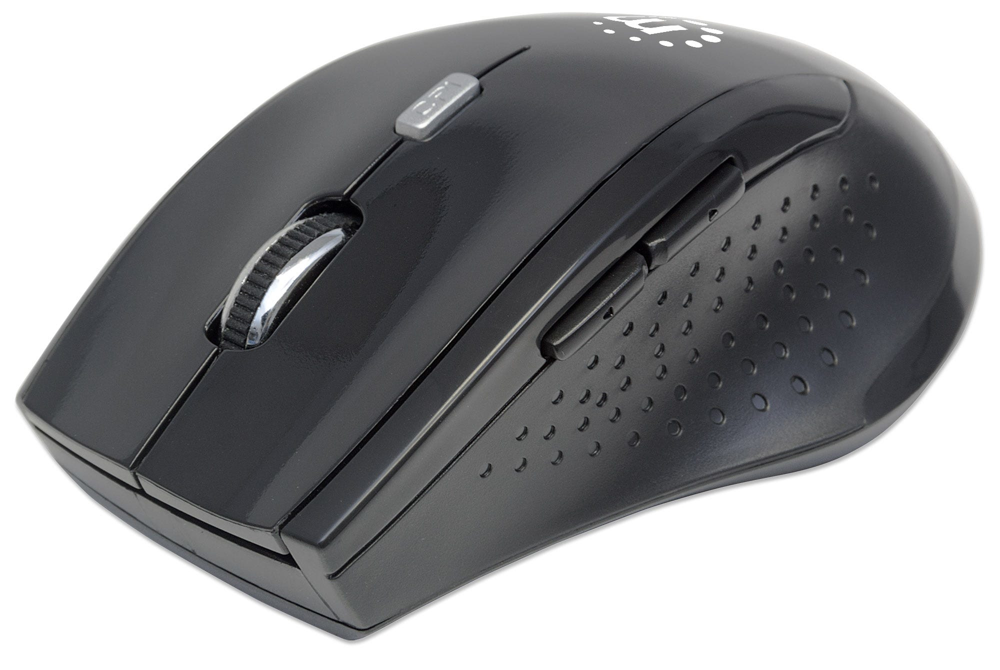 Manhattan Curve Wireless Mouse, Black, Adjustable DPI (800, 1200 or 1600dpi), 2.4Ghz (up to 10m), USB, Optical, Five Button with Scroll Wheel, USB micro receiver, 2x AAA batteries (included), Full size, Low friction base, Blister