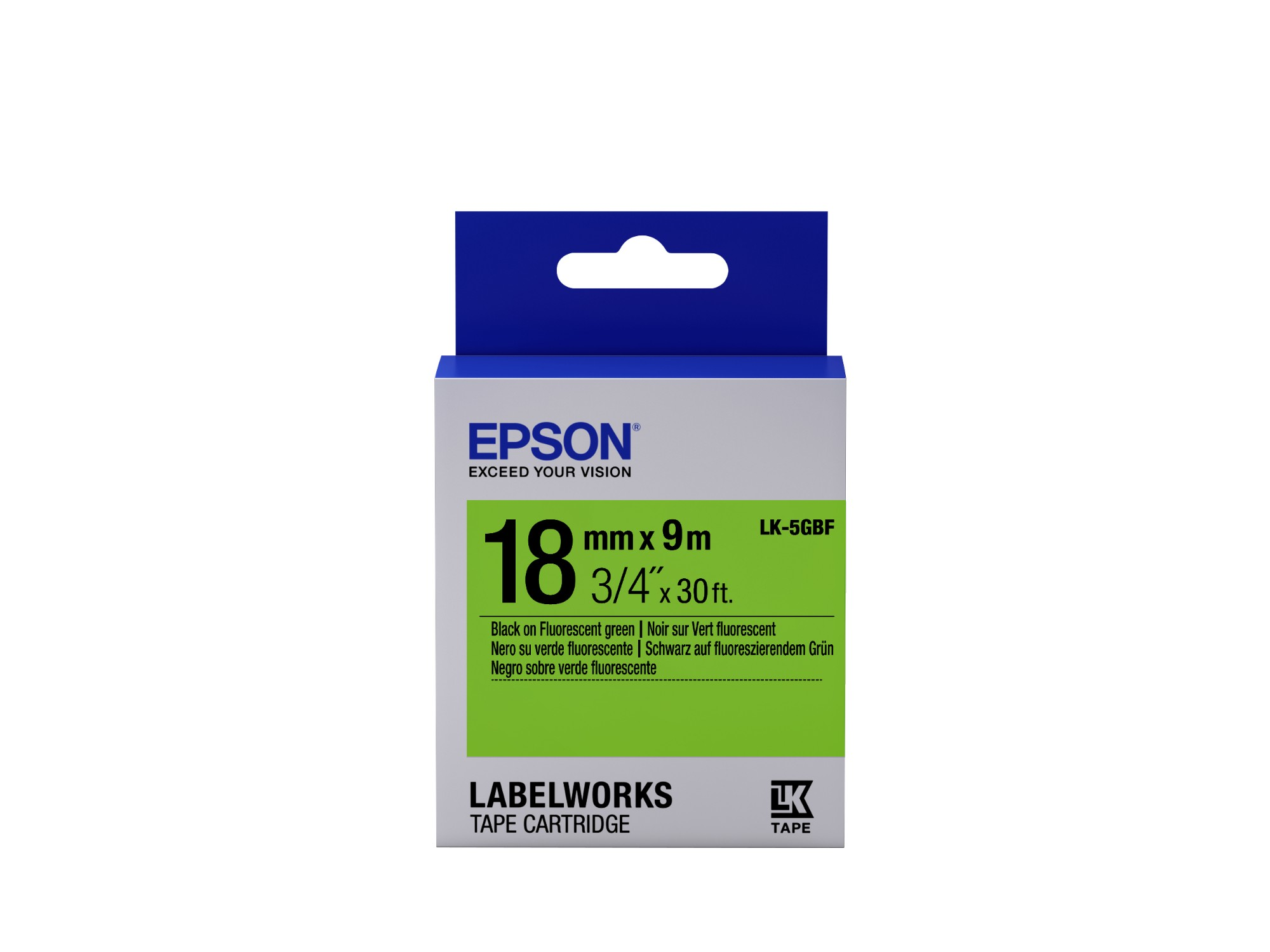 Epson Fluorescent Tape - LK-5GBF Fluor Blk/Green 18/9