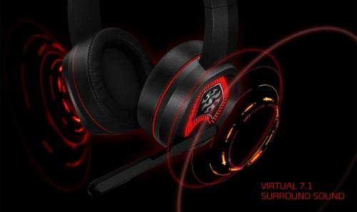 ADATA XPG EMIX H20 RGB Gaming Headset, 50mm Drivers, Virtual 7.1, Black & Red Binaural Head-band