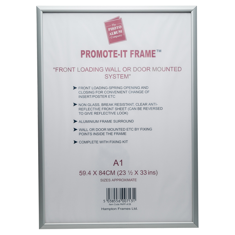 Photo Album A1 Snap Frame Aluminium Front Loading Silver PAPFA1B