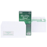 Basildon Envelopes Recycled Wallet Window Peel and Seal 120gsm DL White Ref D80276 [Pack 100]