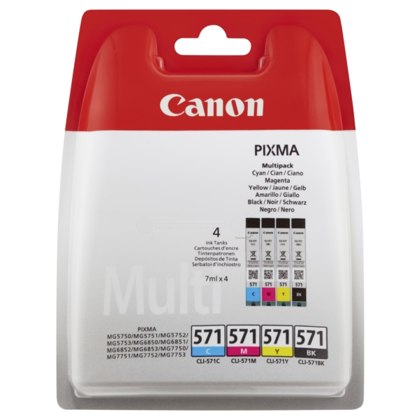 Canon 0386C005 (CLI-571) Ink cartridge multi pack, 1.11K pages, 7ml, Pack qty 4