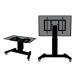 "Newstar Mobile Motorised TV/LFD Trolley for 42""-100"" screen, with tabletop tilt function, Height Adjustable - Black"