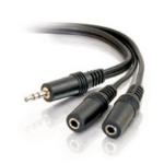 """C2G 6ft 3.5mm Stereo M / 3.5mm Stereo F Y-Cable audio cable 70.9"""" (1.8 m) 2 x 3.5mm Black"""
