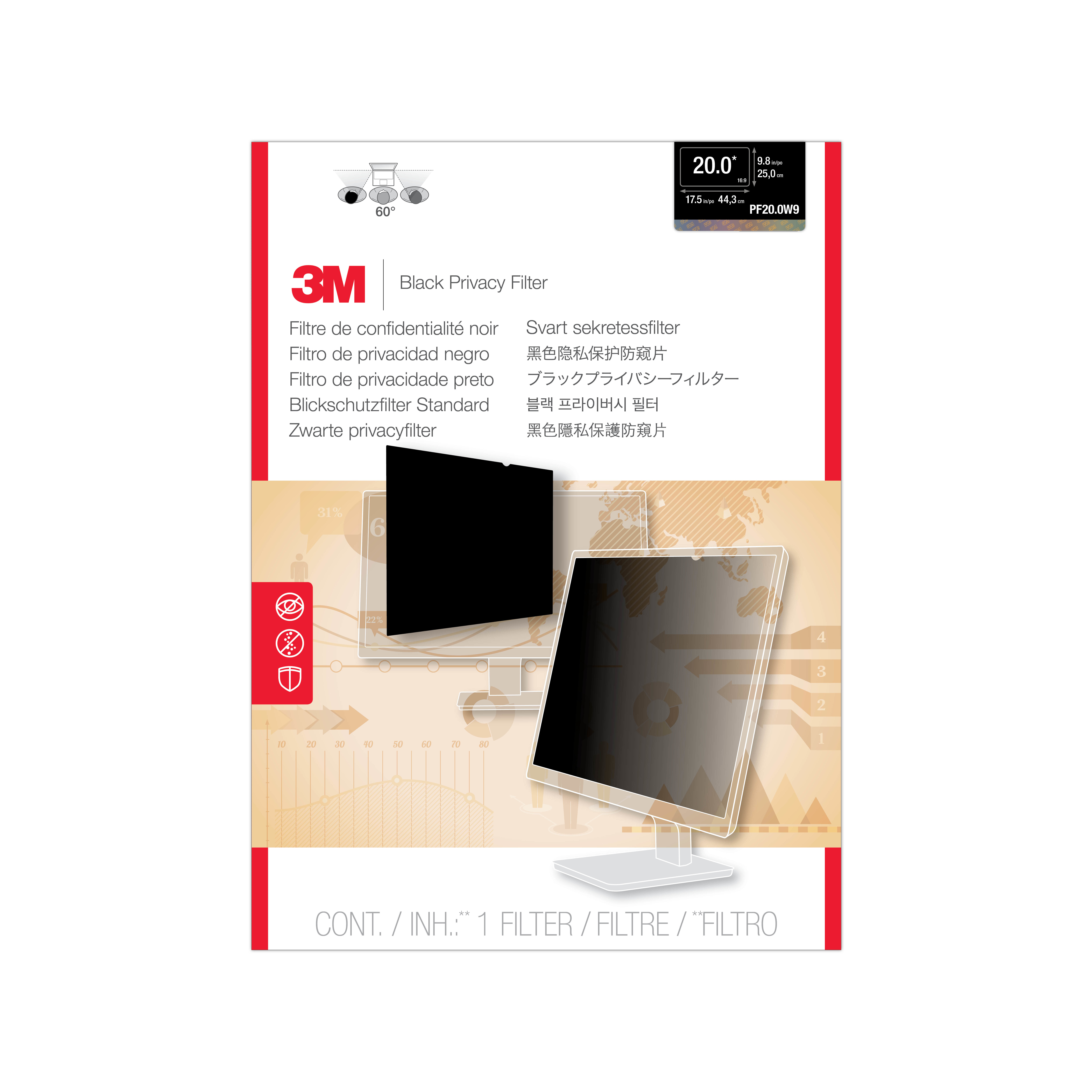 """3M PF20.0W9 Privacy Filter for Widescreen Desktop LCD Monitor 20.0"""""""