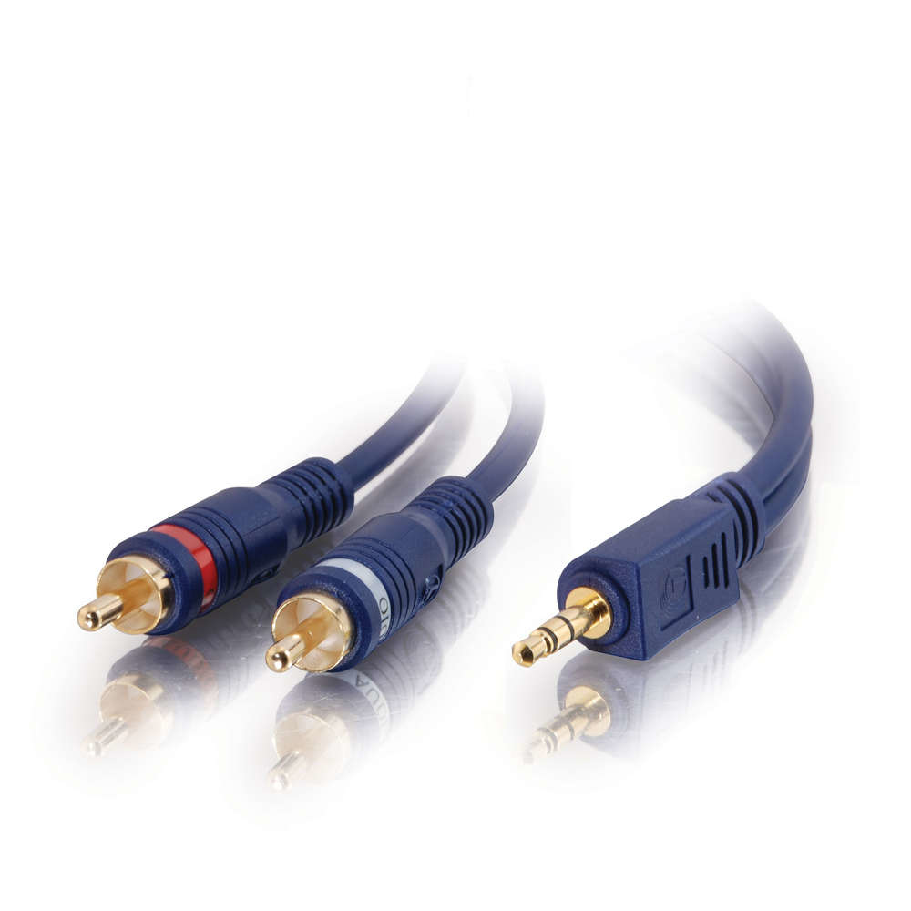 C2G 2m Velocity 3.5mm Stereo Male to Dual RCA Male Y-Cable 2m 3.5mm 2 x RCA Black audio cable