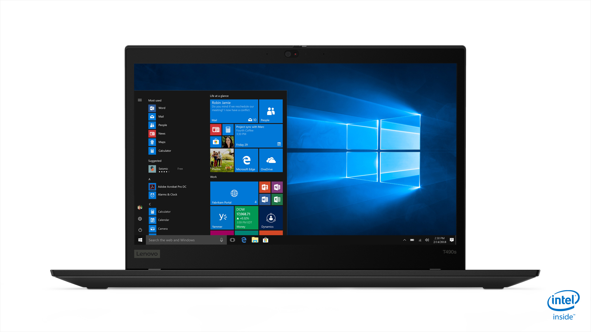 "Lenovo ThinkPad T490s Zwart Notebook 35,6 cm (14"") 1920 x 1080 Pixels Intel® 8ste generatie Core™ i5 16 GB DDR4-SDRAM 256 GB SSD Windows 10 Pro"