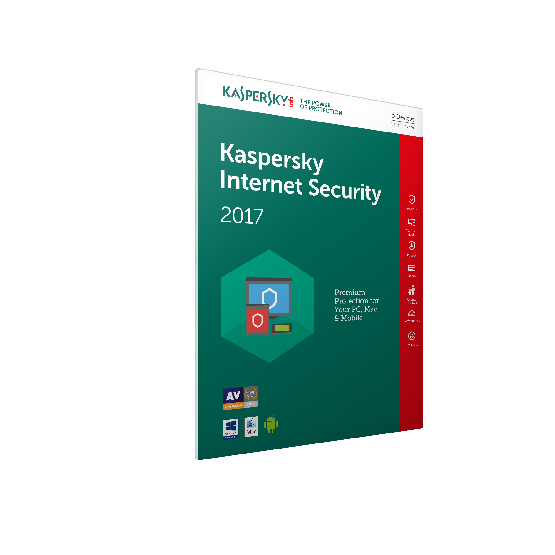 Kaspersky Lab Kaspersky Internet Security 2017 - 3 Devices 1 Year (Frustration Free Packaging)