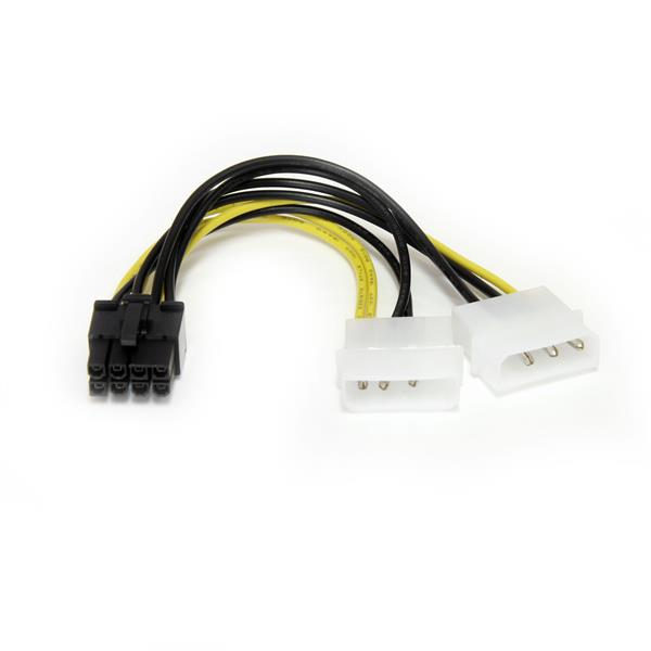 StarTech.com Cable de 15cm Adaptador de Alimentación de LP4 a PCI Express PCIe de 8 Pines para Tarjeta Gráfica