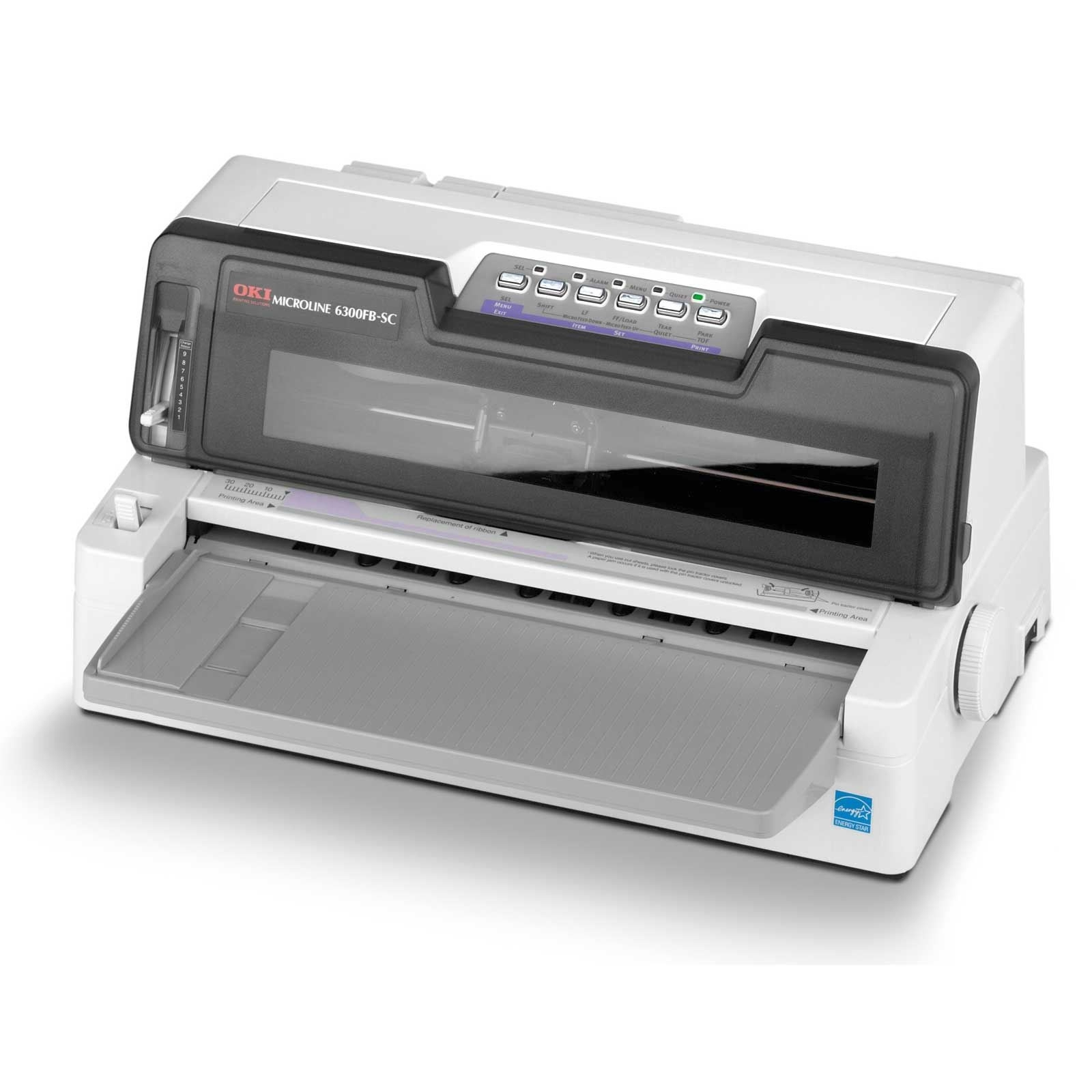 OKI ML6300 Mono 24 Pin Dot Matrix Printer, Print speed - fastest: 450, 360 x 360 dpi, 64KB memory, 3 year warranty (upon registration)