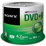 Sony DVD+R, 16X, SPINDLE 50 PCS