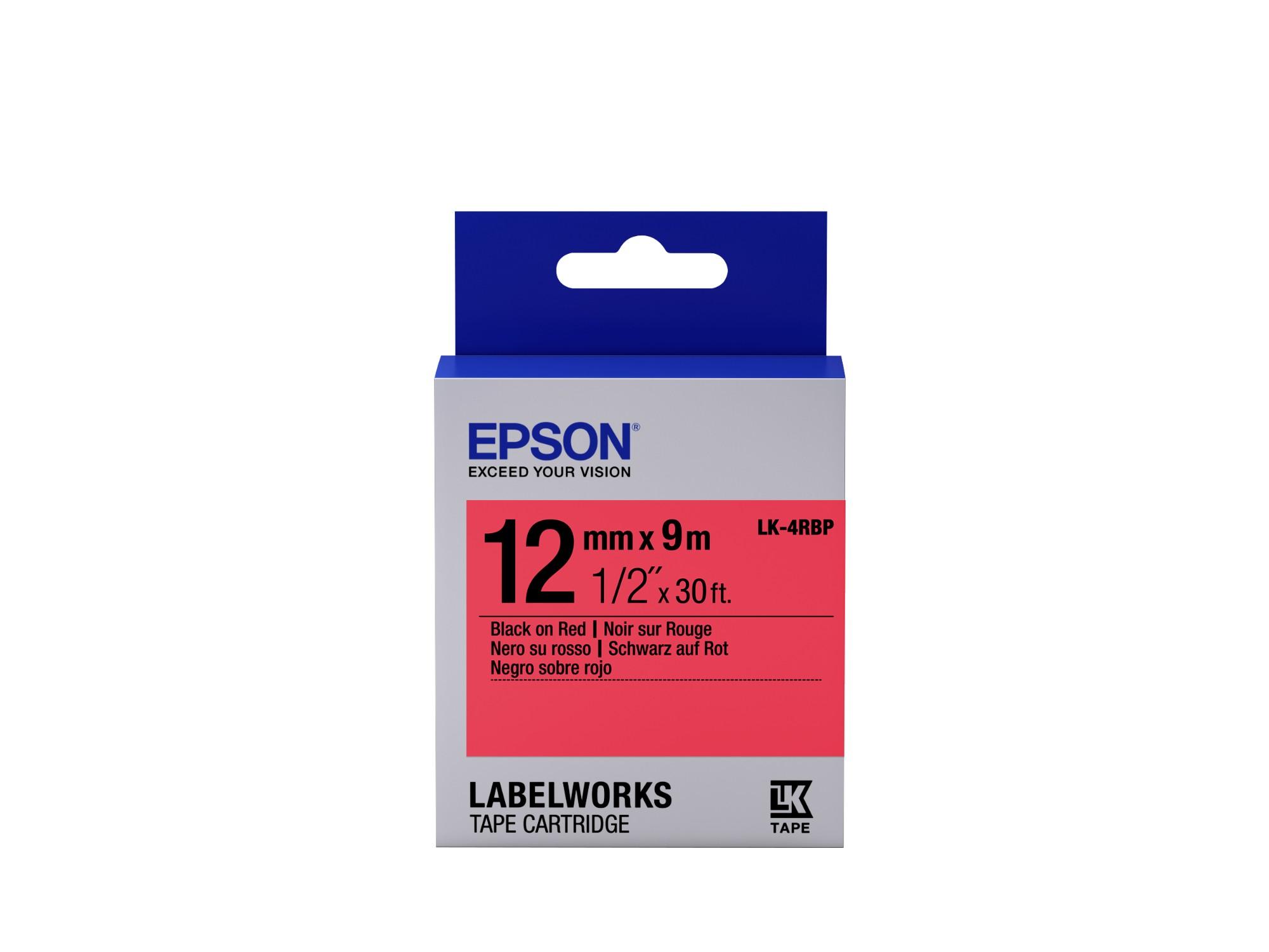 Epson Cinta color pastel - LK-4RBP negro/rojo pastel 12/9