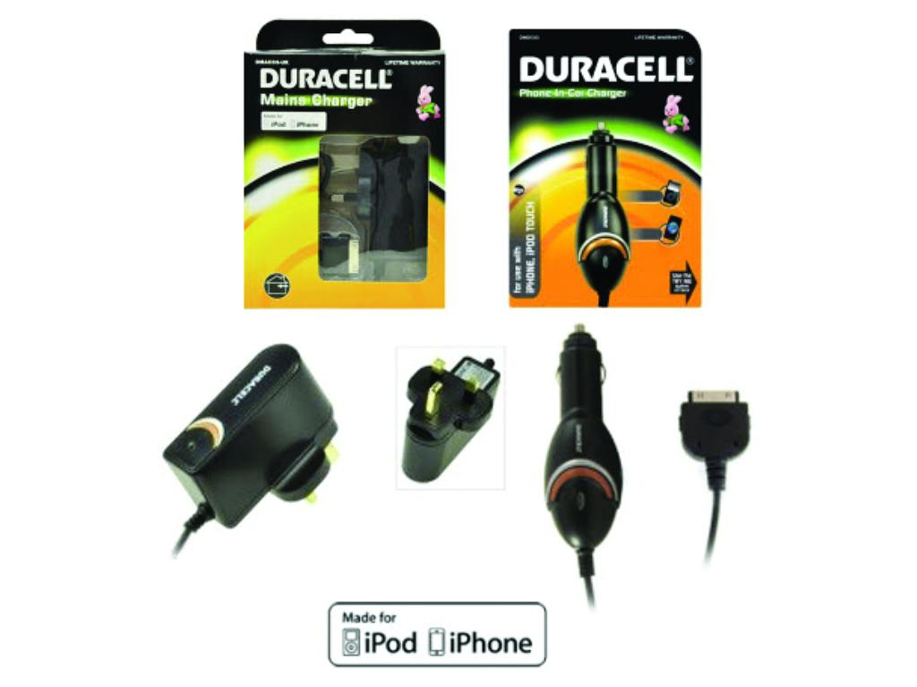 Duracell Apple 30pin Home & Car Charger Bundle