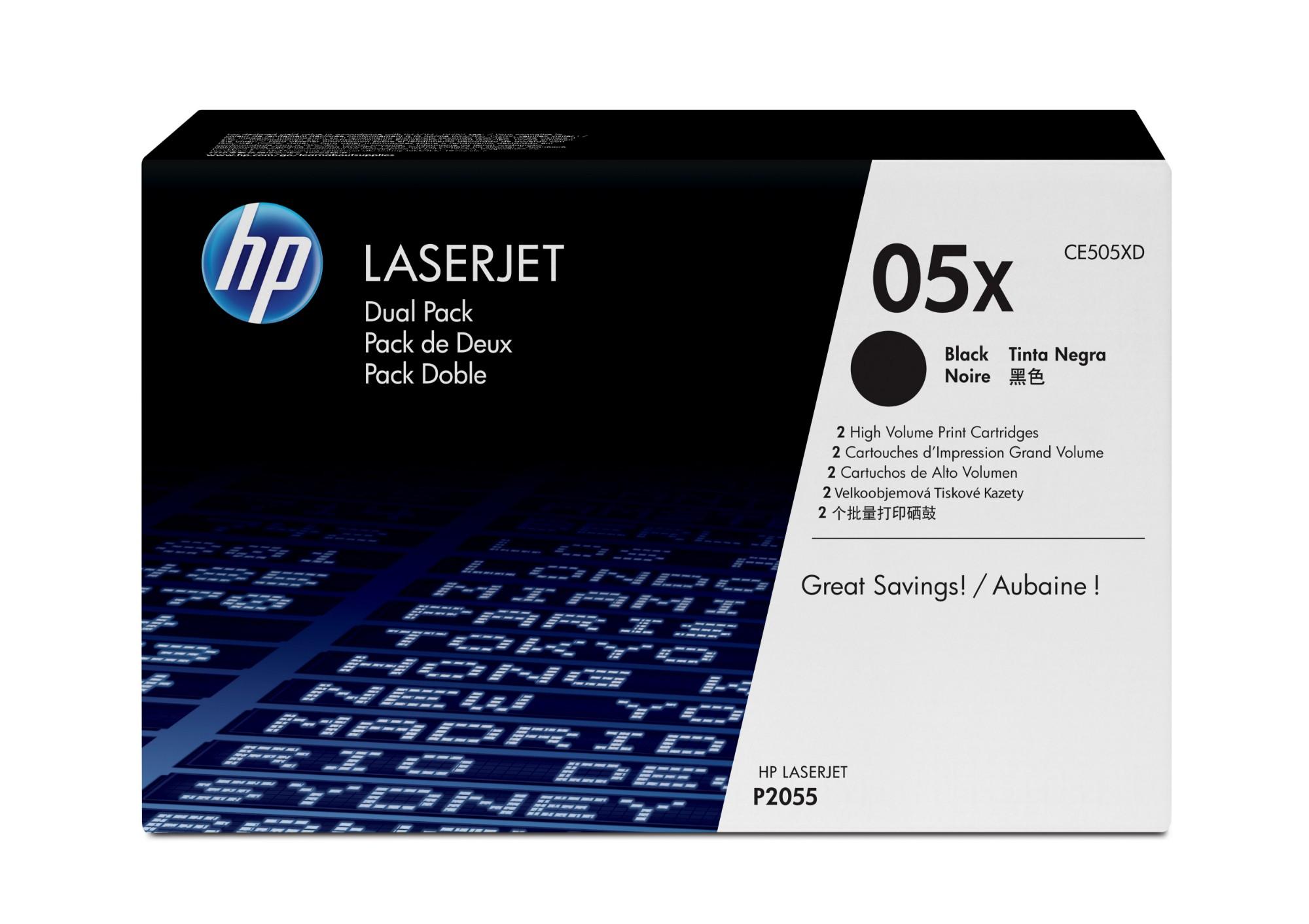 HP CE505XD (05XD) Toner black, 6.5K pages, Pack qty 2