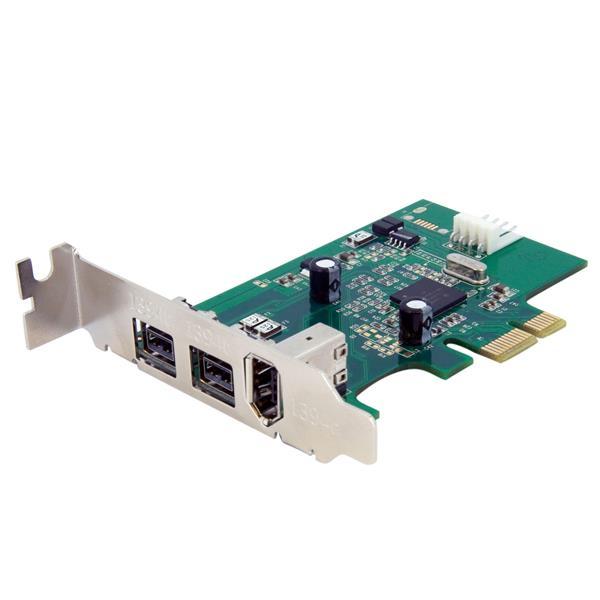 StarTech.com Adaptador Tarjeta FireWire PCI-Express Bajo Perfil de 2 Puertos F/W 800 y 1 Puerto F/W 400