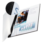 Leitz impressBIND Cardboard, Polyethylene terephthalate (PET) Black, Transparent A4