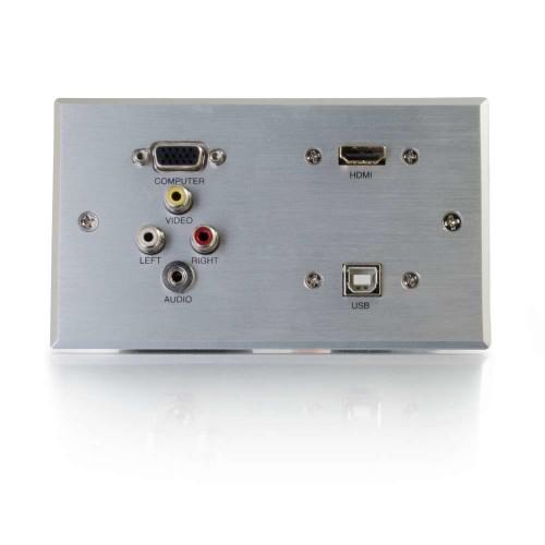 C2G 87120 socket-outlet VGA + 3.5 mm + USB 2.0 + 3x RCA Aluminium