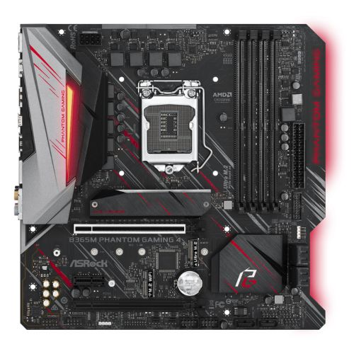 Asrock B365M PHANTOM GAMING 4, Intel B365, 1151, Micro ATX, DDR4, CrossFire, HDMI, DP, RGB Lighting,