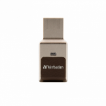 Verbatim FingerPrint Secure - USB 3.0 Drive with fingerprint scanner and AES-256 HW encryption to protect your data - 64 GB - Brown/Silver