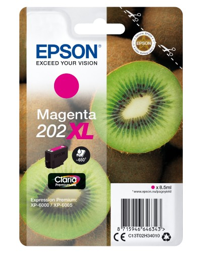 Epson C13T02H34010 (202XL) Ink cartridge magenta, 650 pages, 9ml