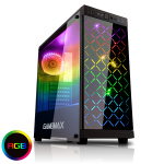 GAMEMAX Polaris Black RGB 4 x 12cm RGB Fans Tempered Glass Side & Front Panels