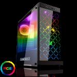 GAMEMAX Polaris Black RGB 4 x 12cm RGB Fans Tempered Glass Side & Front Panels