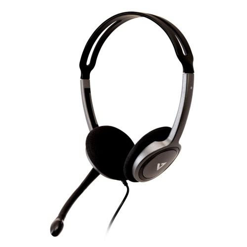 V7 HA212-2EP headset Binaural Head-band Black,Silver