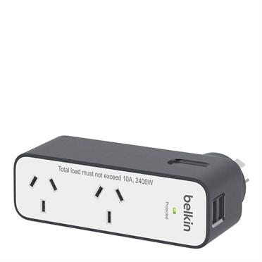 Belkin Surgeplus 2400 W, 10 A, 2x AC, 2 USB 2.4A outlet(s) Black,White surge protector