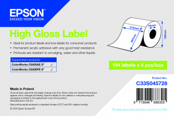 Epson C33S045728 printer label White Self-adhesive printer label