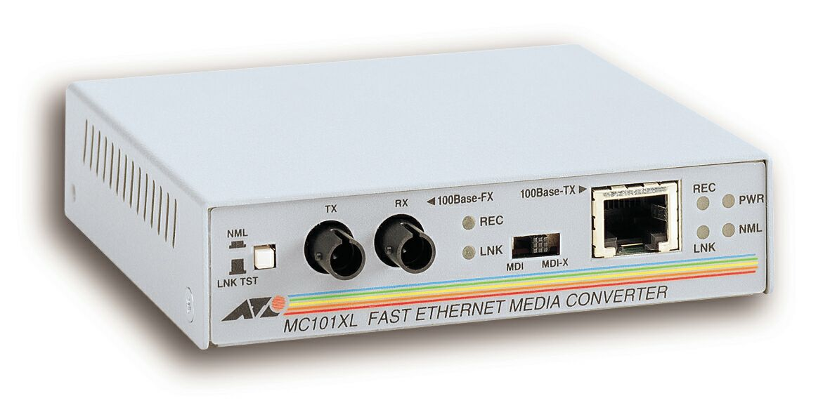 Allied Telesis 100TX to 100FX (ST) Multi-Mode Media Converter 100Mbit/s network media converter