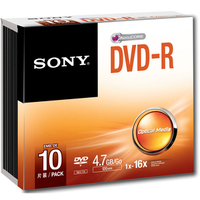 Sony DVD-R 4700MB 16X Recordable Jewel Case - 10 Pack - (10DMR47SS)
