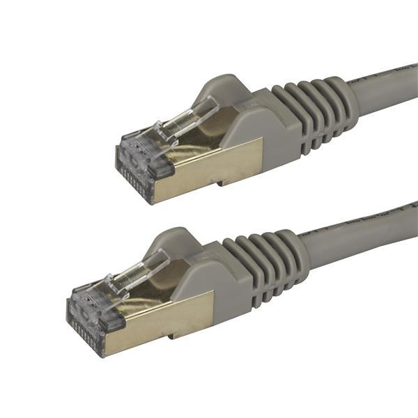 StarTech.com Cable de 0,5m de Red Ethernet RJ45 Cat6a Blindado STP - Cable sin Enganche Snagless - Gris