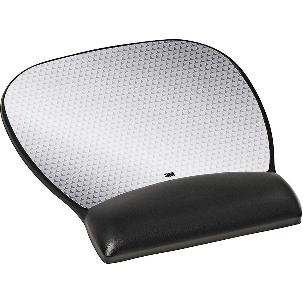 3M MW310LE PRECISE MOUSING SURFACE WITH GEL-FILLED WRIST REST LARGE ABSTRACT DESIGN BLACK WITH SILVER