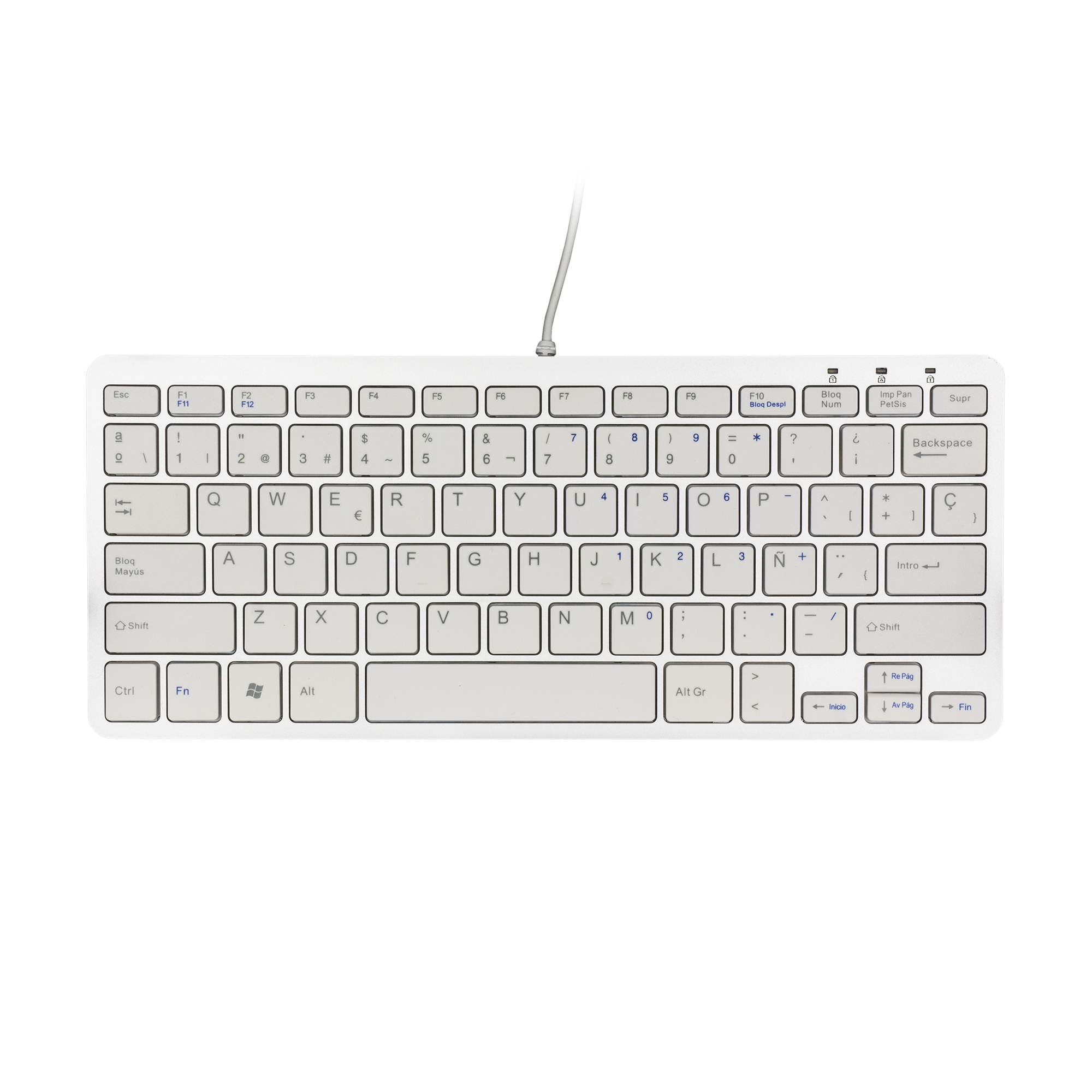 R-Go Tools Compact Keyboard, QWERTY (ES), white, wired