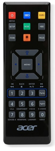 Acer E25 remote control IR Wireless Universal Press buttons