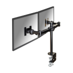 "Newstar Full Motion Dual Desk Mount (clamp) for two 10-27"" Monitor Screens, Height Adjustable - Black"