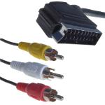 CONNEkT Gear 2m SCART to 3 x RCA (Phono) SCART (21-pin) Black