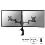 "Newstar Full Motion Dual Desk Mount (clamp & grommet) for two 10-27"" Monitor Screens, Height Adjustable - Black"