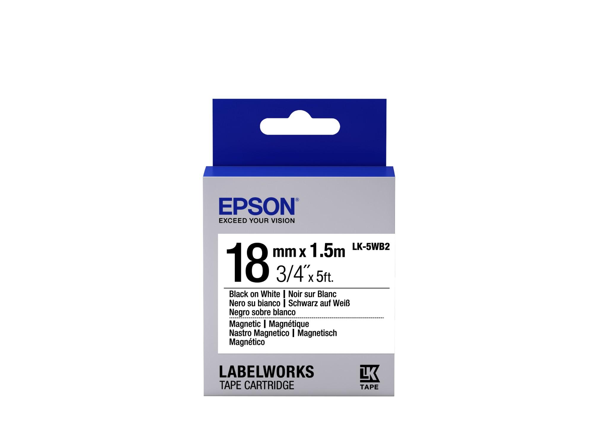 Epson Label Cartridge Magnetic LK-5WB2, zwart/wit 18 mm (1,5 m)