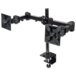 "Manhattan Monitor Dual Desk Mount (clamp), 2 screens, 10-27"", Vesa 75x75 to 100x100mm, 3 pivots (full motion), Height Up to 41.3cm, Max 12kg, Black"
