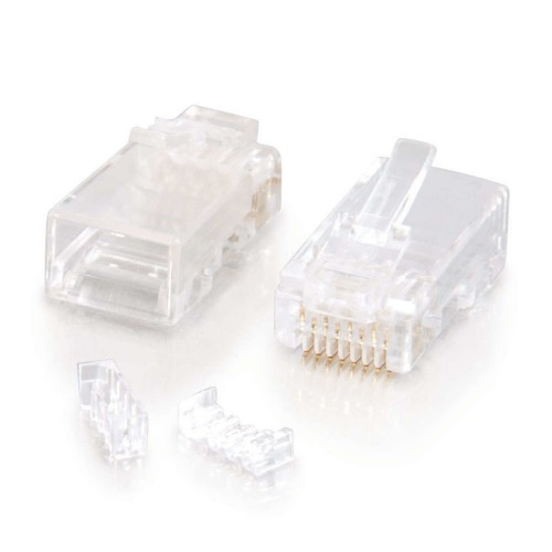 C2G RJ45 Cat5E Modular Plug (with Load Bar) for Round Solid/Stranded Cable - Network connector - RJ-45 (